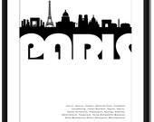 PARIS SKYLINE POSTER. Size A2