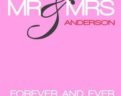 Customized Wedding Poster in pink. Large, size 42 x 59.4 cm.