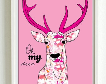 Oh my deer illustrationnew designs. Large A2 luxury poster print.