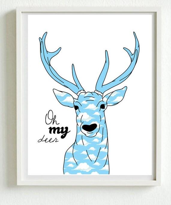 Oh my deer, cloud pattern - new designs A3 luxury poster print.