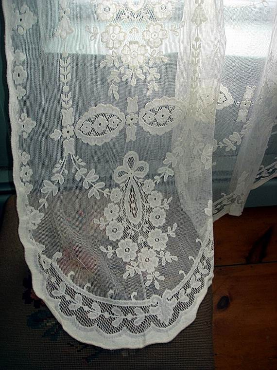 all cotton creamy french lace curtain
