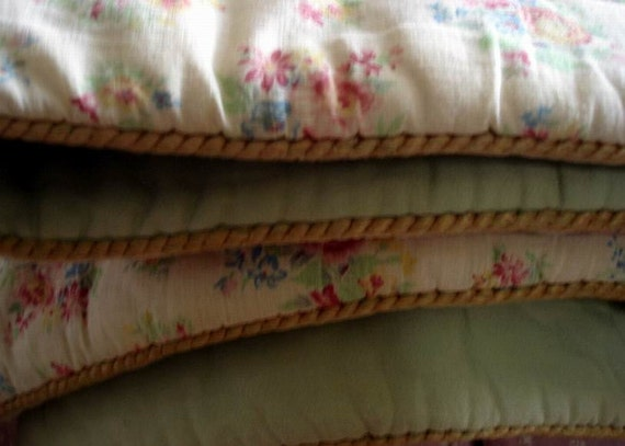 Antique French Provence Style Quilted Coverlet