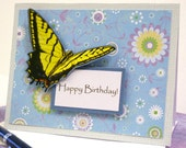 Happy Birthday Greeting Card Flowers and Butterfly