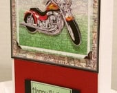 Motorcycle/Map Happy Birthday Card