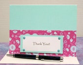 Thank You Card - Light Blue and Dark Pink Flowers