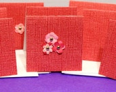 Set of 8 mini note cards-Dark Pink with little pink flowers