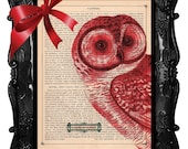OUR ORIGINAL DESIGN AND CONCEPT FREE SHIPPING WORLDWIDE CHRISTMAS OWL PRINT A HO HO HO HOOTER on an Antique 1890 Book Page