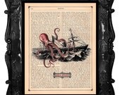 Upcycled Dictionary Page Upcycled Book Art Upcycled Art Print Upcycled Book Print Vintage Art Print Red Octopus Attacking Ship Snack Attack