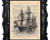 Old Ship Print Dictionary Print Antique Book print Vintage Galleon Ship Print