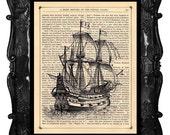 Book Print Old Ship Print Dictionary Print Antique Book print Vintage Galleon Ship Print