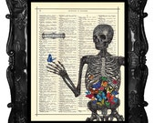 Valentine's Day Gift for him her -skeleton butterflies art print - butterfly antique book page music page anatomy poster wall art