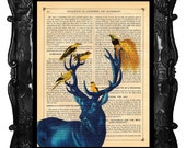 Upcycled Dictionary Page Upcycled Book Art Upcycled Art Print Upcycled Book Print Vintage Art Print Blue Deer Stag and Birdie Friends