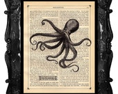 Upcycled Dictionary Page Upcycled Book Art Upcycled Art Print Upcycled Book Print Vintage Art Print Octopus Print Water Dancing