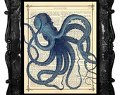 OCTOPUS - Book Print Dictionary Page Octopus Print Dancing Print Antique Book Page Print