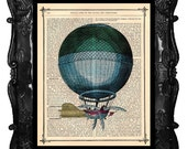 Beautiful Blue Hot Air Balloon, Flying Machine, French, Vintage Dictionary Antique Book Page