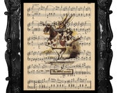 ALICE In WONDERLAND Vintage Art Print on Antique Sheet Music Page Upcycled Recycled Art Print White Rabbit