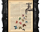 OUR ORIGINAL DESIGN Faucet Butterflies Art Print Magical Faucet Vintage Antique Book Page butterfly dictionary art print