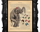 Elephant and Butterflies Upcycled Book Dictionary Print Art Prints Vintage Book Print Vintage Book Page Sprinkles