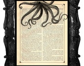Octopus Upcycled Dictionary Page Tentacle Book Art  Print Upcycled Book Print Vintage Art Print