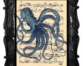 Artistic Octopus Art Print Antique Music Book Page