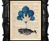 Whale Art Print Blue French Hot Air Balloons antique book page artistic dictionary print book art print Whale Art Print