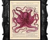 Pink Octopus Art Print Princess Octopus Print Dictionary Print Antique Book Page Art Print Octo-princess