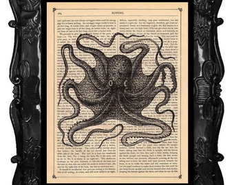 Upcycled Dictionary Page Upcycled Book Art Upcycled Art Print Upcycled Book Print Vintage Art Print Black Beauty Octopus 2