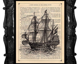 Ship Print vintage art print vintage Ship dictionary print vintage book page print art print