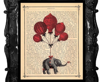 Elephant Vintage Art Print Elephant French Hot Air Balloons Light as Air antique book page artistic book art print