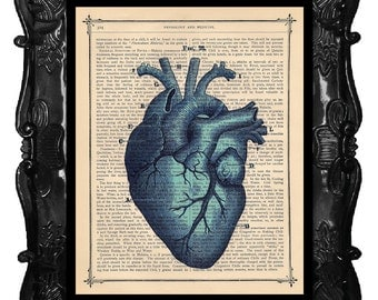 Blue Heart Print Anatomy Heart Print Anatomical Heart Print Upcycled Dictionary Antique Book Pages Human Anatomy Heart Print