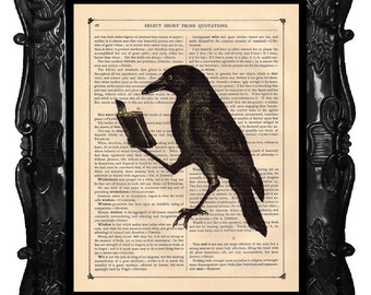 CROW Art Print A Crow reading a Book Raven Art Print - on a Antique Book page vintage dictionary crow art print