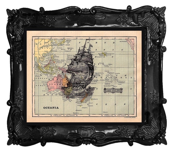 FREE SHIPPING WORLDWIDE SHIP MAP PRINT on a Vintage Map Book Page from 1883 Limited Edition