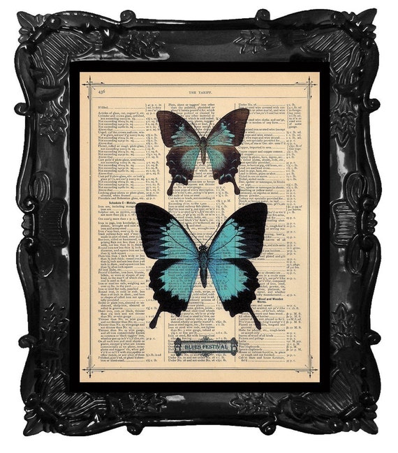 FREE SHIPPING WORLDWIDE BLUE BUTTERFLIES BLUES FESTIVAL PRINT on an Antique 1883 Book Page