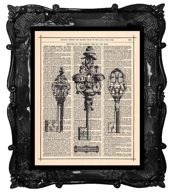 Upcycled Dictionary Page Upcycled Book Art Upcycled Art Print Upcycled Book Print Vintage Art Print Mermaid and Lion Skeleton Key