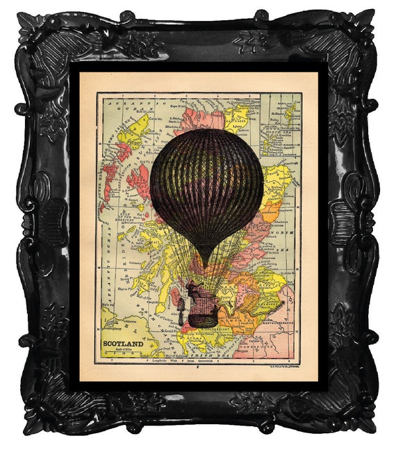 Black French Hot Air Balloon on antique map of Scotland art print - Hot Air Balloon on old world maps wall art