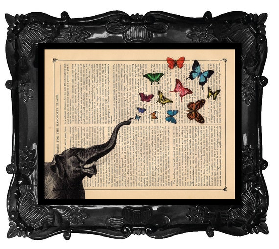 Elephant collage of butterflies - elephant art print - butterflies on antique book page