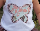 Girl's Double Layered Butterfly Applique Top