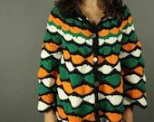 SALE 1970s vintage sweater handknit black green and orange cardigan