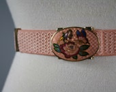 vintage belt 1970s pink peach flower butterfly metal buckle