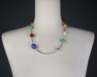 vintage necklace multi color silver beaded 1970s