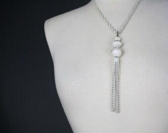 vintage necklace filigree ball white tassel 1960s decorative dangly gold