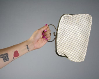 vintage clutch white mesh fake chainmetal leather handle purse