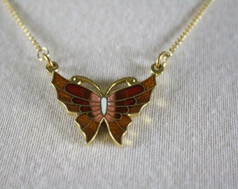 vintage necklace small butterfly gold red pink 1970s