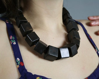 vintage 1970s brass necklace cubes hallow light and hippe earth chic