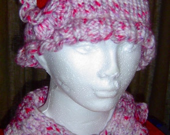 Knitted Pink & Purple Cloche Hat with Irish Rose