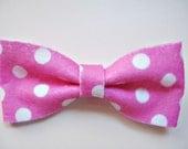 SALE (was 5) Pink Polka Dot Handmade Felt Bow