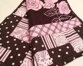 Security Blanket brown and pink..Girl Mini Quilt