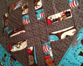 Pirate Quilt or Blanket X marks the Spot..teal grey quilted boy blanket or tummy time blanket