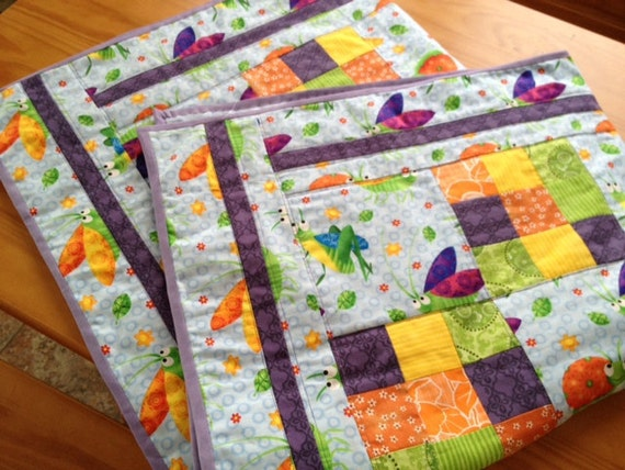 Patchwork quilt or tummy time mat..bright colors..girly bugs