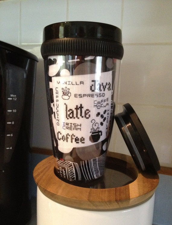 Travel Mug..Coffee Buzz...quilt in a cup..coffee words black and white